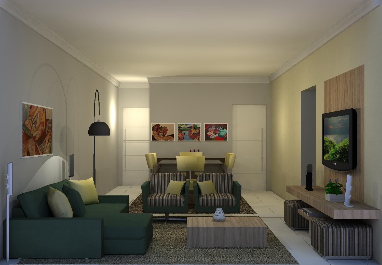 Projeto de interiores decora o sala de estar jantar for Interiores de salas