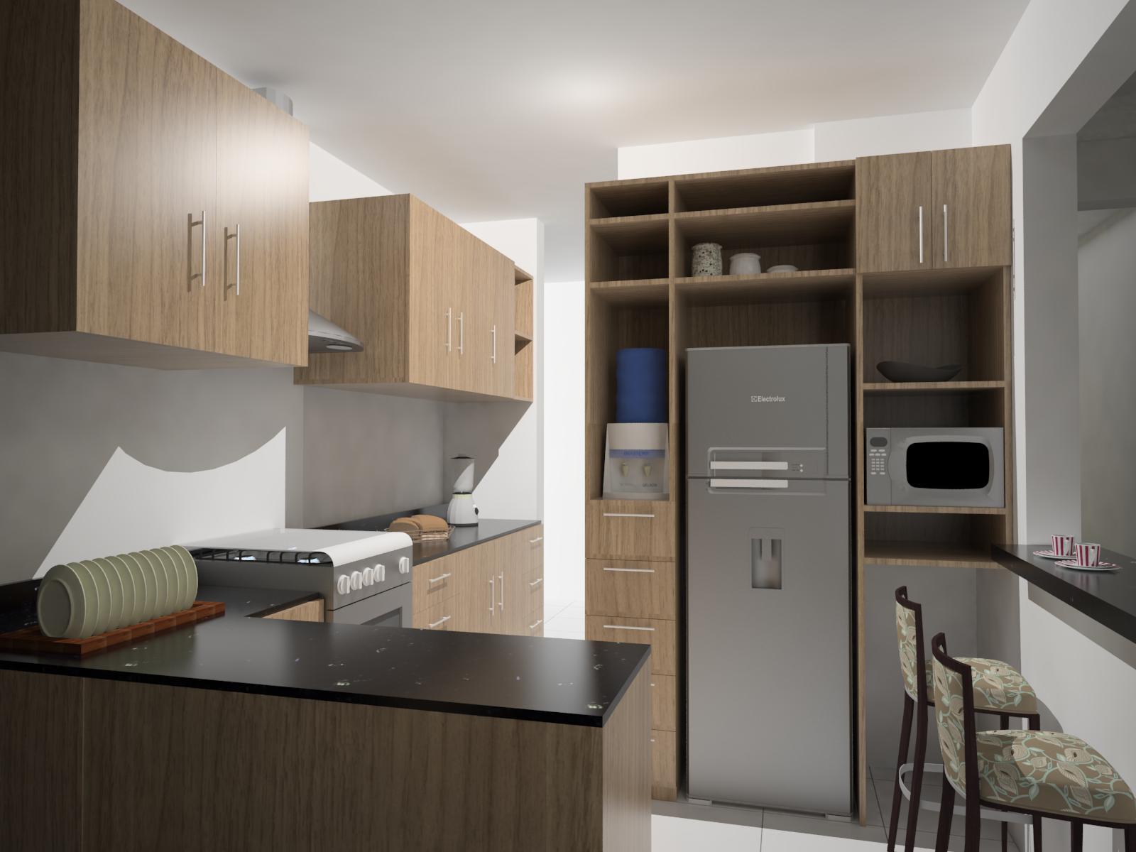 #323E5F Interiores – Apartamento  1600x1200 px Projeto Cozinha Pequena Quadrada #2639 imagens