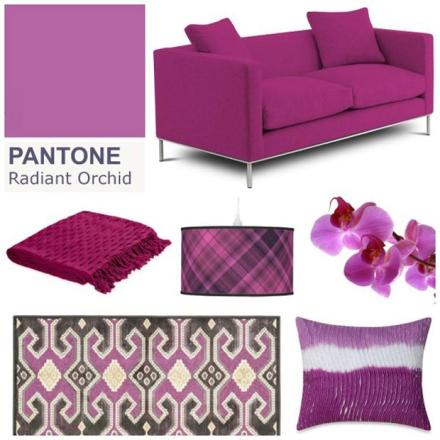 A cor Radiant Orchid (próximo ao lilás). Em alta na Arquitetura e na Decoração.